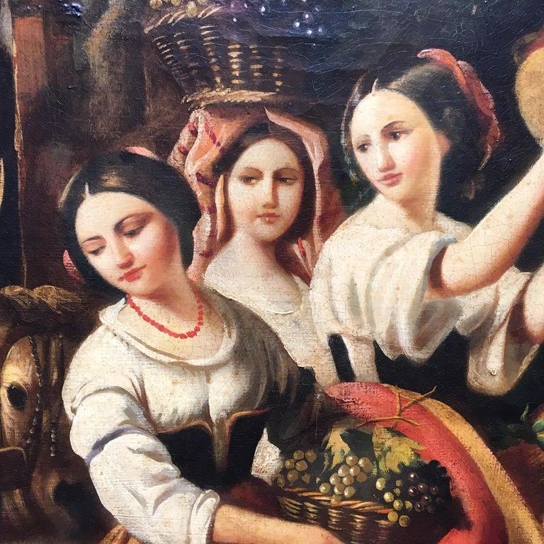 COUNTRY SCENE- Italian School - Figurative Italian Oil on Canvas  Painting For Sale 3