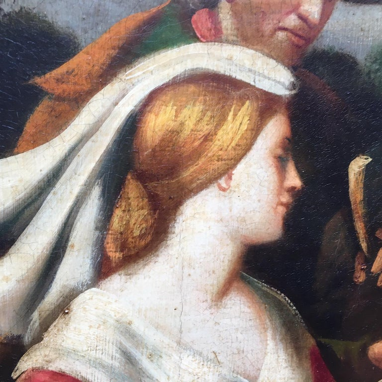 COUNTRY SCENE- Italian School - Figurative Italian Oil on Canvas  Painting For Sale 4
