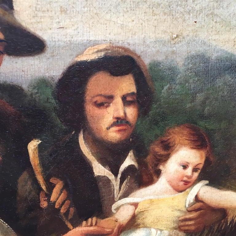 COUNTRY SCENE- Italian School - Figurative Italian Oil on Canvas  Painting For Sale 5