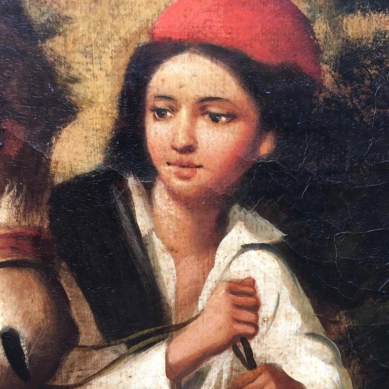 COUNTRY SCENE- Italian School - Figurative Italian Oil on Canvas  Painting For Sale 6