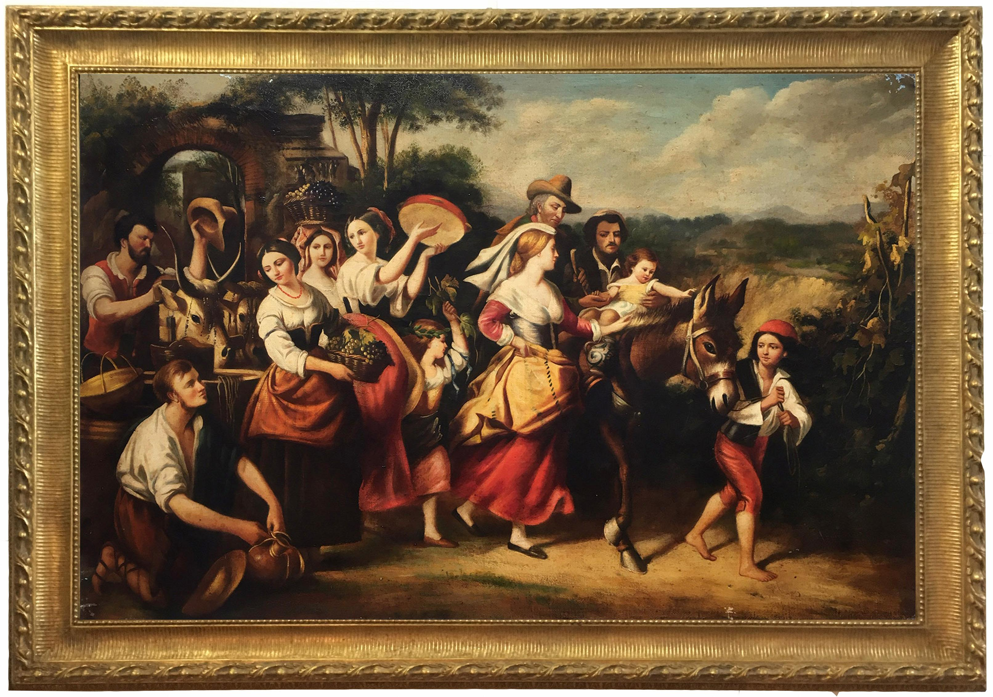 COUNTRY SCENE- Italian School - Figurative Italian Oil on Canvas  Painting