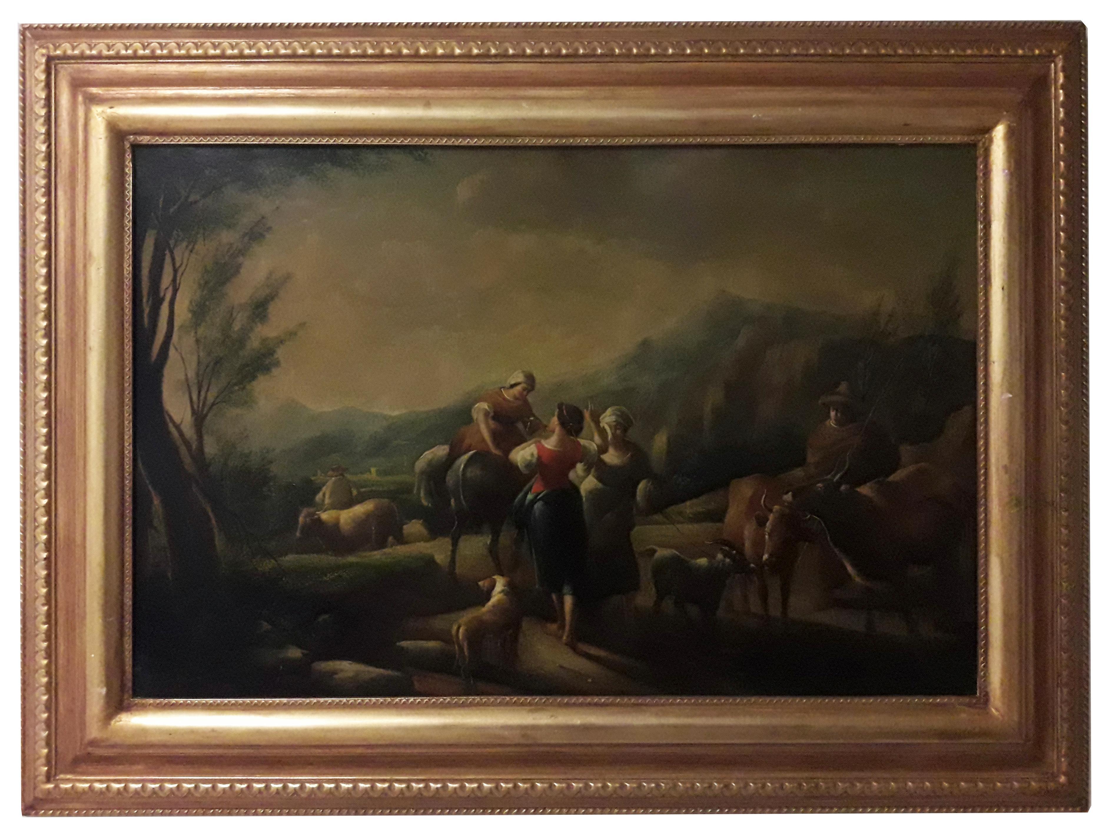 COUNTRY SCENE - Italian School -  Italy - Oil on canvas painting