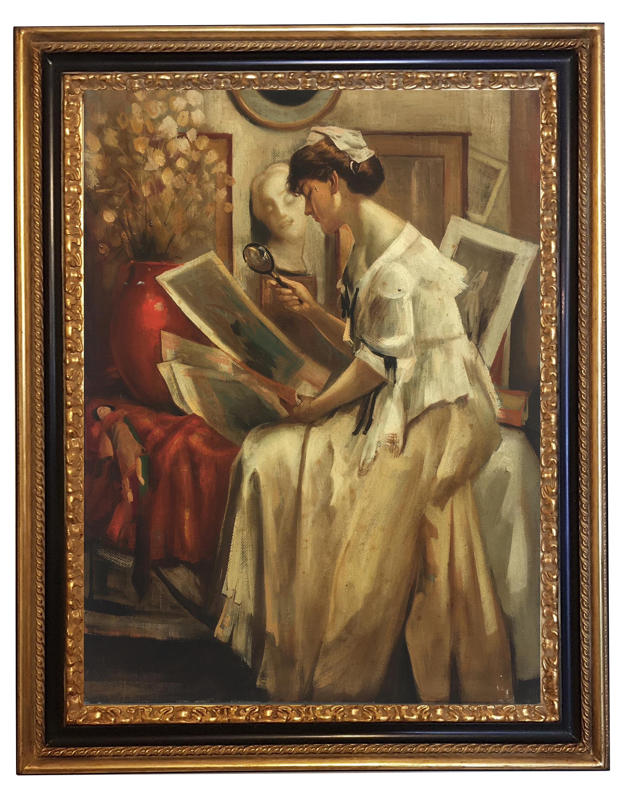 LADY READING - French School - Figurative Italian Oil on canvas painting
