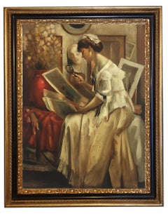 Lady Reading - Figurative Italian Oil on Canvas by Giovanni Santaniello, 2002