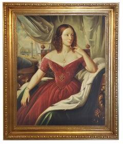 Lady's Portrait -Giovanni Santaniello Oil on Canvas Italian Figurative Painting