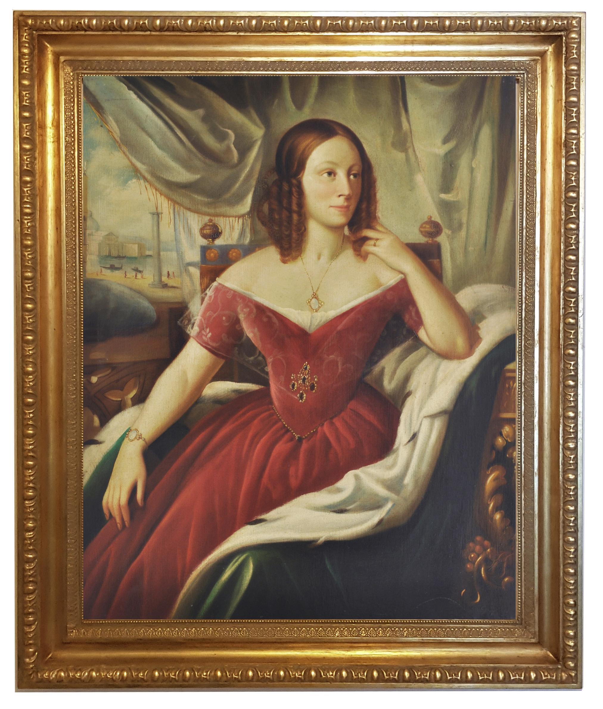 LADY'S PORTRAIT - Venetian School  - Oil on Canvas Italian Figurative Painting
