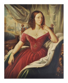 LADY'S PORTRAIT - Italian figurative oil on canvas painting Giovanni Santaniello