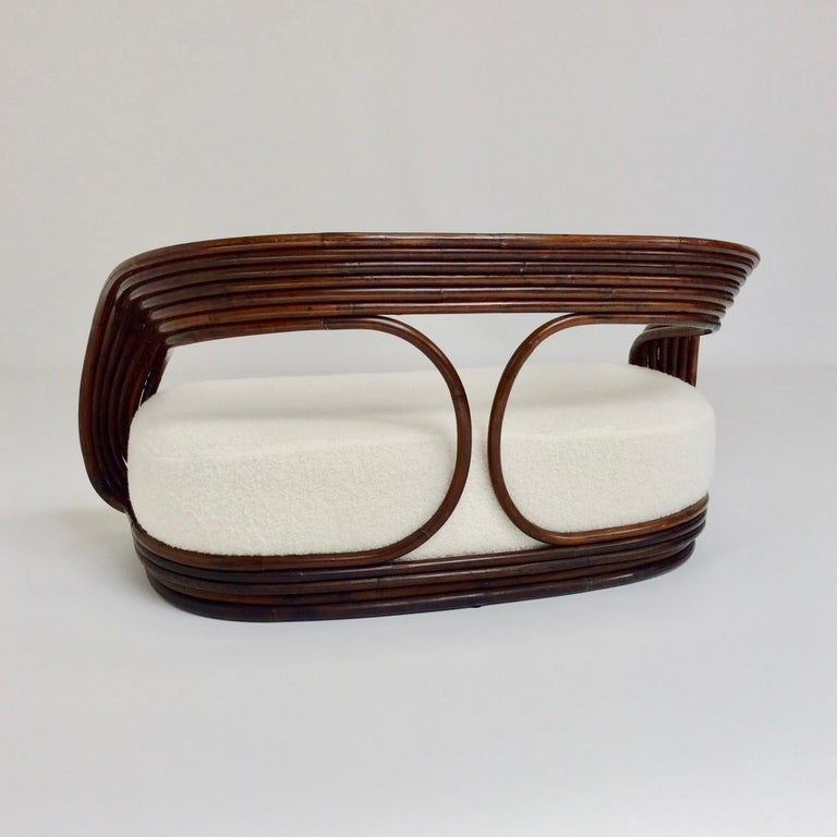 Fabric Giovanni Travasa Rare Bamboo Sofa for Bonacina, circa 1960, Italy For Sale