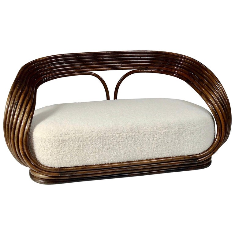 Giovanni Travasa Rare Bamboo Sofa for Bonacina, circa 1960, Italy For Sale