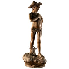 Giovanni Varlese Bronze Sculpture of a Young Napoleitan Fisherman, Italy, 1910