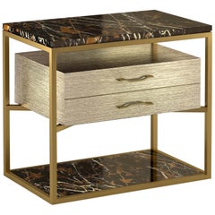 "Giovannozzi Home,Bedside Table ""Garbo"" Black Marble and Metal Brass Finish-Italy"