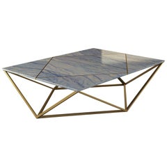 """Giovannozzi Home, Coffe Table """"ORIGAMI"""" Marble and Metal Brass Finish - Italy"""