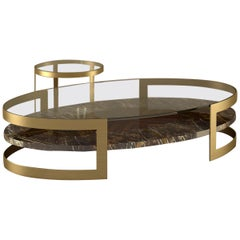 """Giovannozzi Home, Coffe Table+Side Table """"Saturn"""" Marble and Metal Brass Finish"""