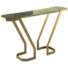 "Giovannozzi Home, Console Table ""V"" Marble and Metal Brass Finish - Italy"