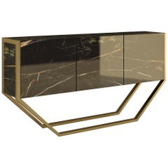 "Giovannozzi Home, Consolle ""VANILLA"" Black Marble and Metal Brass Finish - Italy"