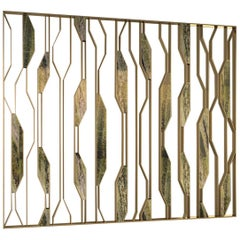 "Giovannozzi Home, Partition Wall ""LEAVES"" Marble and Metal Brass Finish, Italy"