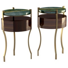 """Giovannozzi Home, Side Table """"Kheperer"""" Marble Onyx and Metal Brass Finish-Italy"""