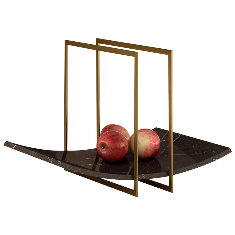 """Giovannozzi Home, Tray """"BALANCE"""" Black Marble and Metal Brass Finish For Sale"""