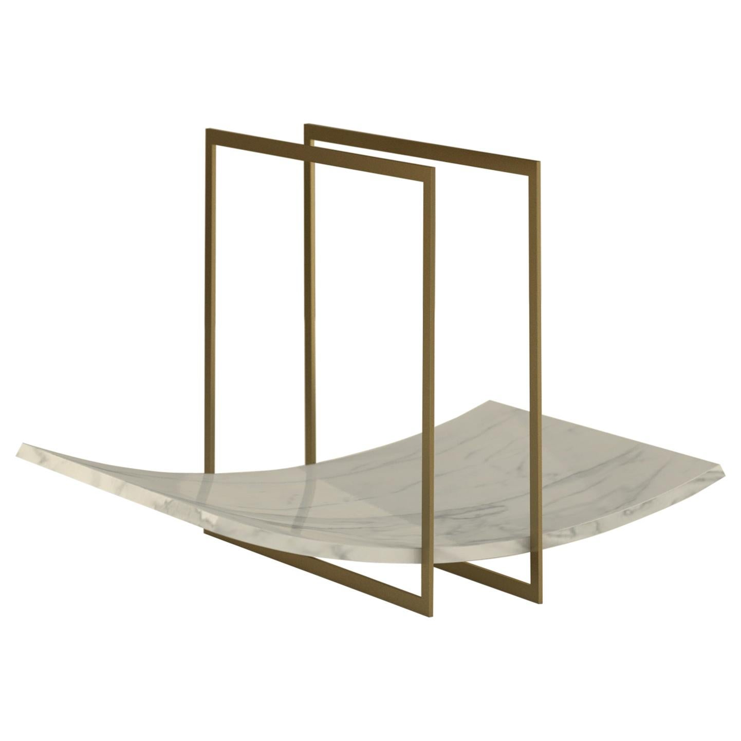 """Giovannozzi Home, Tray """"BALANCE"""" White Marble and Metal Brass Finish"""