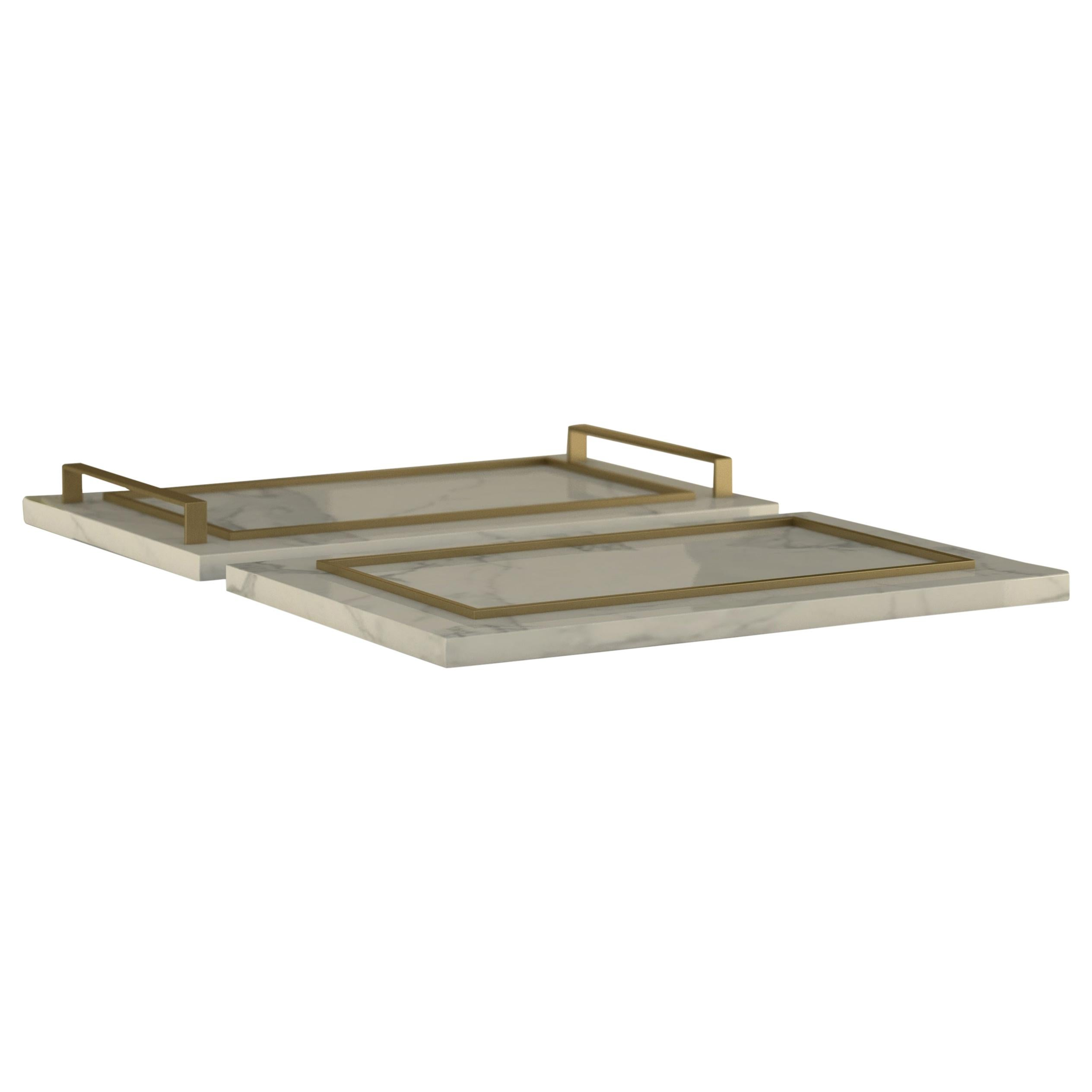 """Giovannozzi Home, Tray """"ESSENCE"""" Marble and Metal Brass Finish"""