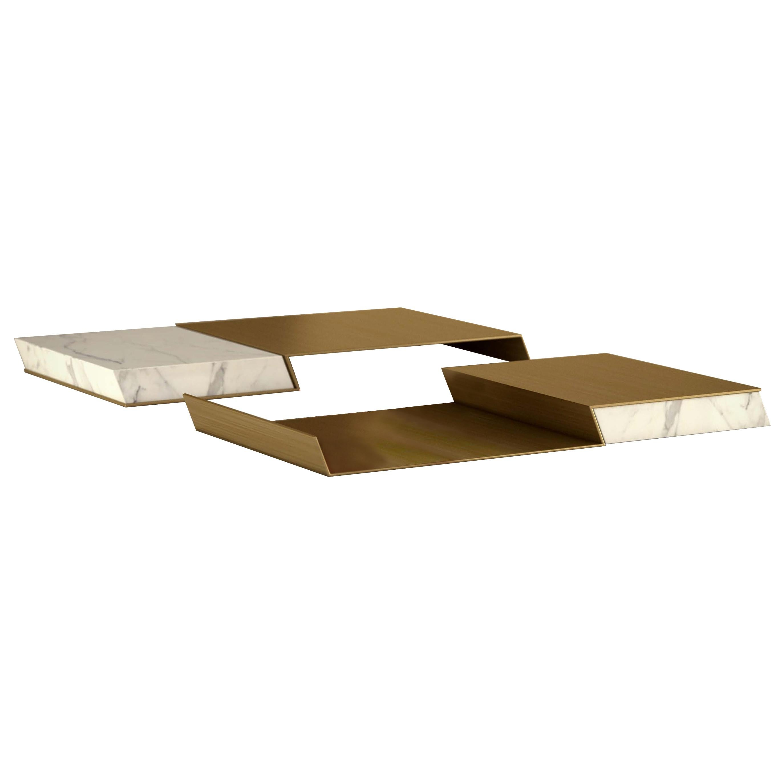 """Giovannozzi Home, Tray """"GROOVE"""" Marble and Metal Brass Finish - Italy"""