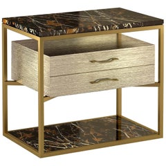 """Giovannozzi Home,Bedside Table """"Garbo"""" Black Marble and Metal Brass Finish-Italy"""