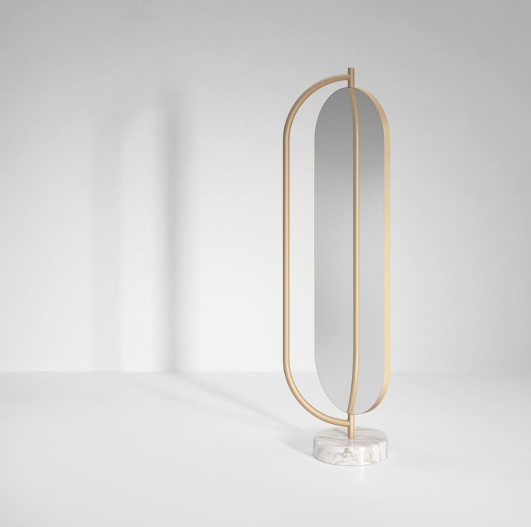 Italian Giove Contemporary Mirror in Metal and Marble by Artefatto Design Studio For Sale