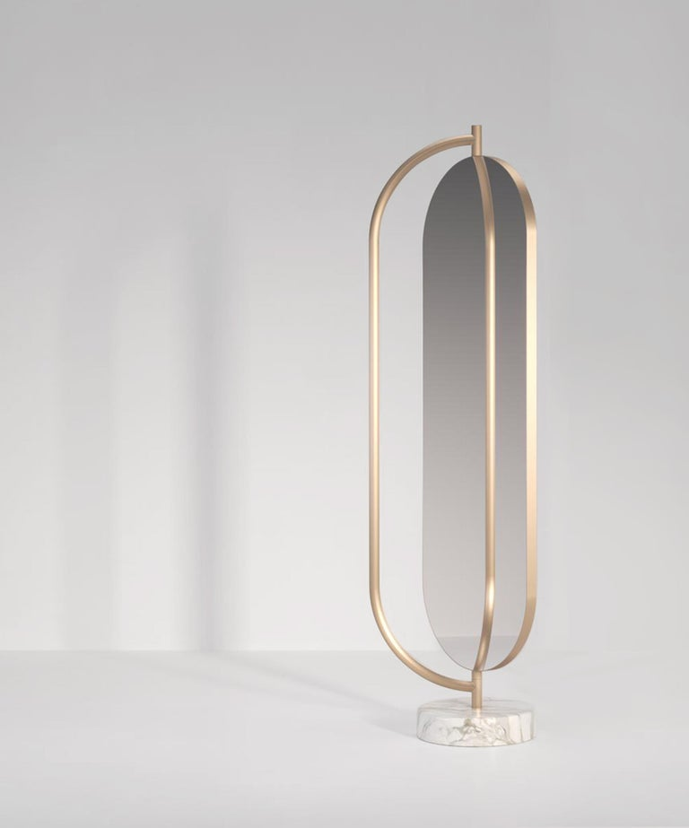 Giove Contemporary Mirror in Metal and Marble by Artefatto Design Studio For Sale 2