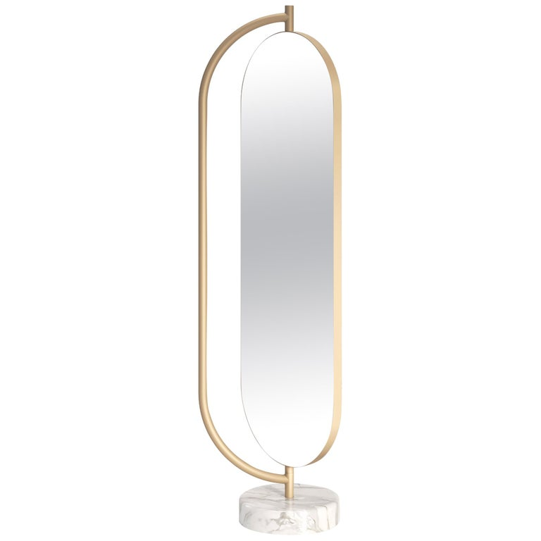Giove Contemporary Mirror in Metal and Marble by Artefatto Design Studio For Sale