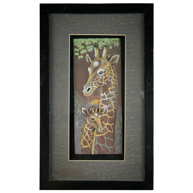 Giraffe Carved Wall Sculpture
