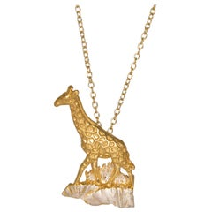 Giraffe Pendant in 18 carat Gold on Sterling Silver