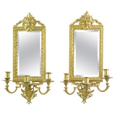Girandoles Mirrors, Pair of Brass Mirrors, Rococo Mirror, Victorian, France