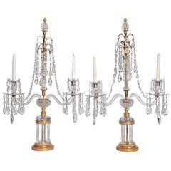 Girandoles Pair of English Regency Cut-Crystal Two Branches