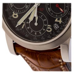 Girard Perregaux BlackLeather Chronograph Ref.8020 Mens Wristwatch 36 MM