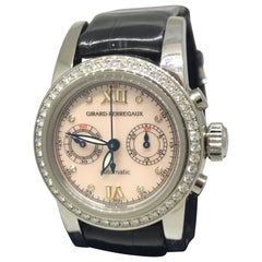 Girard Perregaux Diamond Bezel Chronograph Leather Band Ladies Watch 8046 New