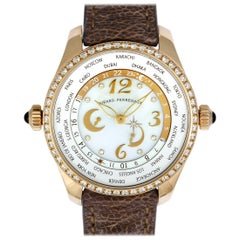 Girard Perregaux Rose Gold World Time Chronograph Watch 49860D52A