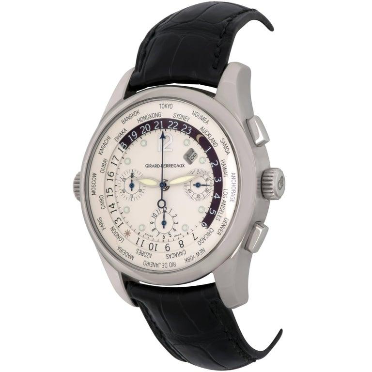 Girard Perregaux White Gold World Time Chronograph GMT Automatic Wristwatch