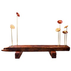 """Girassol"" Contemporary Bench with lamps in Canela wood and brass"