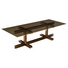 Girder, Dining Table with Glass in Crackle Effect