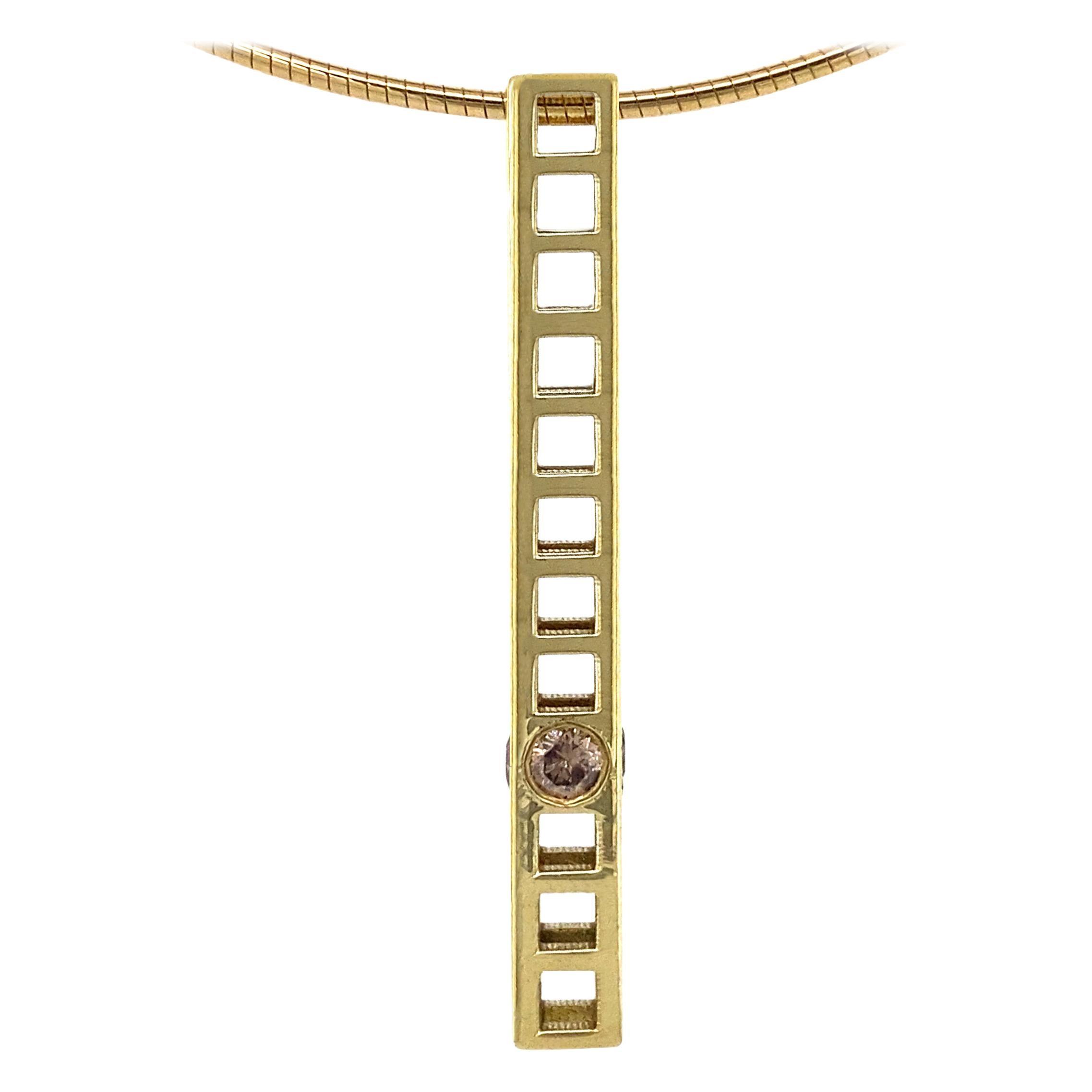 """""""Girder"""" Pendant in 18 Karat Gold & Brown Diamonds on Choker-Length Omega Chain"""