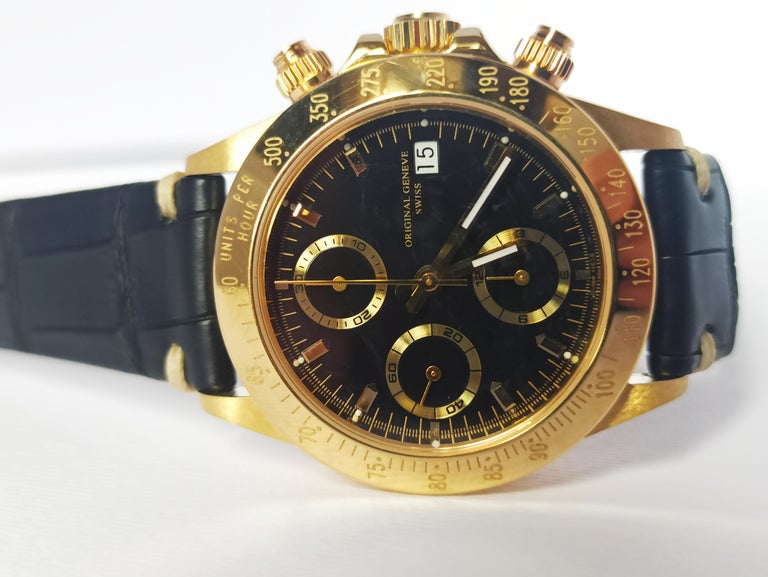 Giren Dupre' 18kt Solid Gold Daytona Style Chronograph, Leather Strap, Automatic For Sale 6
