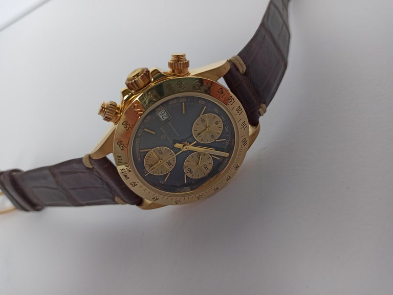 Giren Dupre' 18kt Solid Gold Daytona Style Chronograph, Leather Strap, Automatic For Sale 3