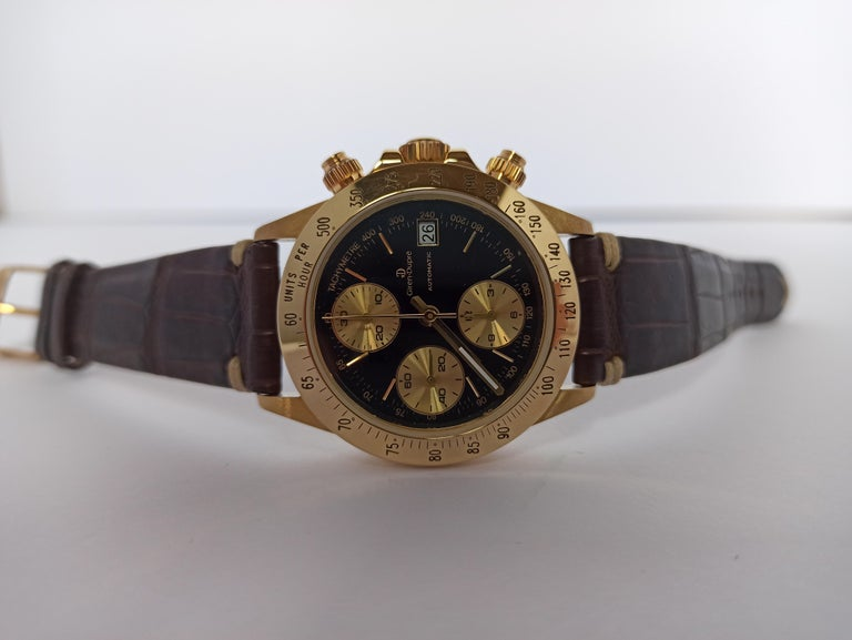 Giren Dupre' 18kt Solid Gold Daytona Style Chronograph, Leather Strap, Automatic For Sale 4