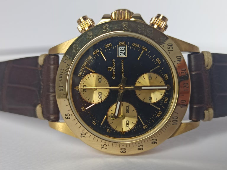 Giren Dupre' 18kt Solid Gold Daytona Style Chronograph, Leather Strap, Automatic For Sale 5