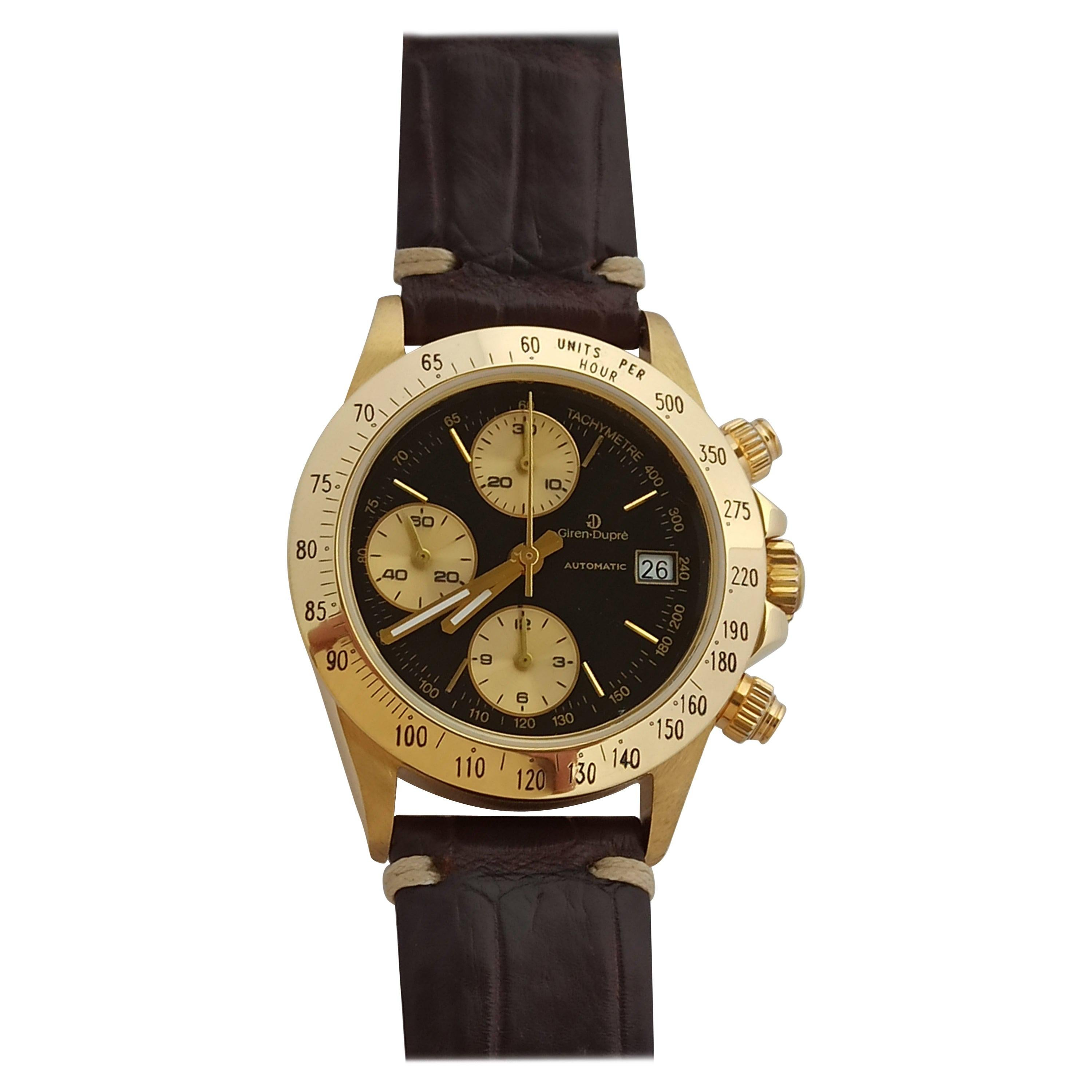 Giren Dupre' 18kt Solid Gold Daytona Style Chronograph, Leather Strap, Automatic