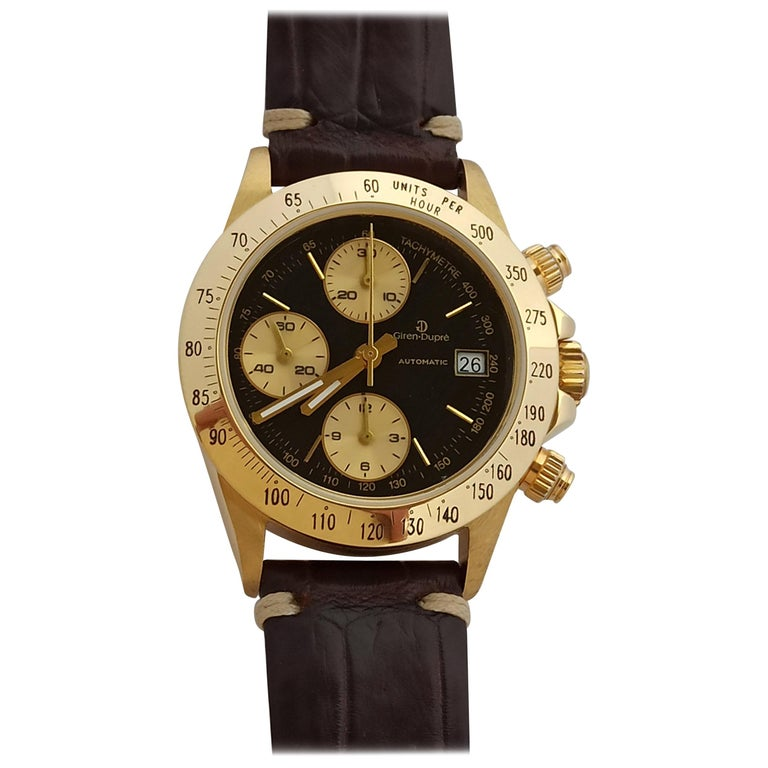 Giren Dupre' 18kt Solid Gold Daytona Style Chronograph, Leather Strap, Automatic For Sale