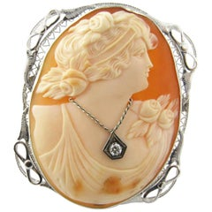 Girl Cameo with Diamond Necklace 14 Karat White Gold Pin Pendant