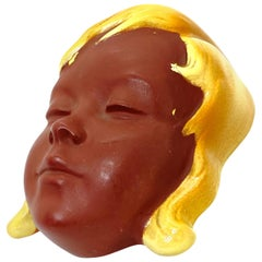 Girl Head Mask Earthenware Wall Decoration Vintage, German, 1950s