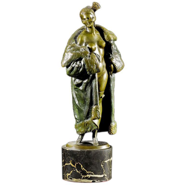 'Girl in Fur Coat' bronze by Bruno Zach. For Sale
