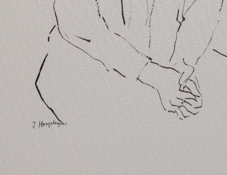 Belgian Girl Unframed Drawing Ink 100% Cotton Paper Black White Intimist Modern  For Sale